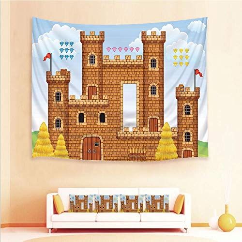 (iPrint 1pcs Hanging Tapestry and 4pcs Pillow case,Wall Hanging Blanket Beach Towels Picnic Mat Home Decor,Castle Leisure Hobby Activity Kids Youth Design,3D Printed Tapestry for Bedroom Living Room)
