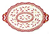 Temp-tations Elegant Platter Serving Tray 18.5'' x 12'' w/FREE Carving Set (Old World Red)