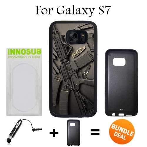 Nice Weapons Rifle Guns Ammo Custom Galaxy S7 Cases-Black-Rubber,Bundle 2in1 Comes with Custom Case/Universal Stylus Pen by innosub
