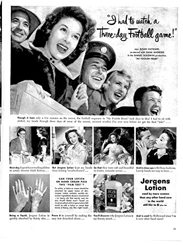 1950 Jergins Hand Lotion Original 13.5 * 10.5 Magazine Ad-Susan Hayward-Wear 3 Day (Susan Art Deco Print)