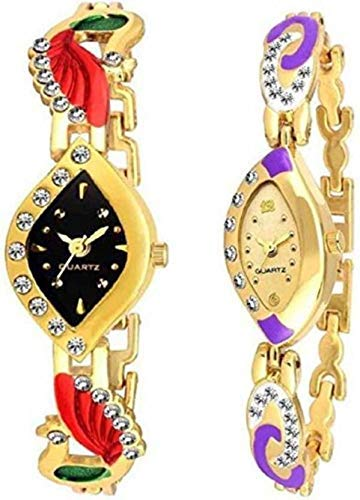 LIRFO New Raiyaraj Embroidery Analogue Gold Black Dial Women's and Girls Combo Watch