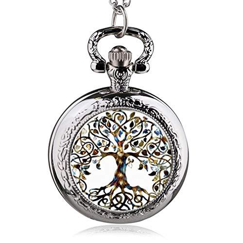 jklek Silver Stainless Steel Tree of Life Chain Luminous Pocket Watch Necklace Women Jewelry Glowing Pendant Chain 41 from jklek