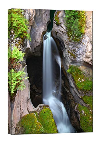 LightFairy Wall Art for Living Room - Glow in The Dark Canvas Painting - Stretched and Framed Giclee Print - Maligne Canyon Waterfall Falls Jasper - Wall Decorations for Bedroom - 32 x 46 inch (Best Places To See In Jasper National Park)