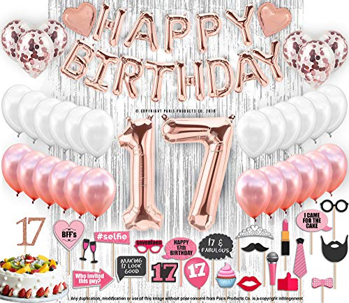 17th Birthday Decorations with Photo Props | 17 Birthday Party Supplies | 17 Cake Topper Rose Gold Banner | Rose Gold Confetti Balloons Gift |Seventeen 17th Bday| Biggest Set on Amazon - 127 Piece 17