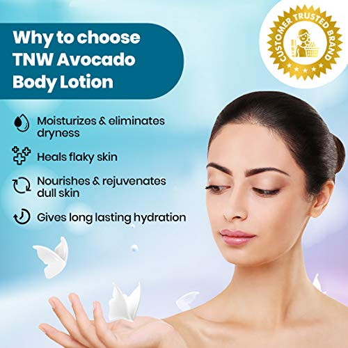 TNW-THE NATURAL WASH Avocado Moisturizing Lotion With Argan Oil For Dry & Flaky Skin (Non-Greasy Paraben Free Formula) – 200 Ml