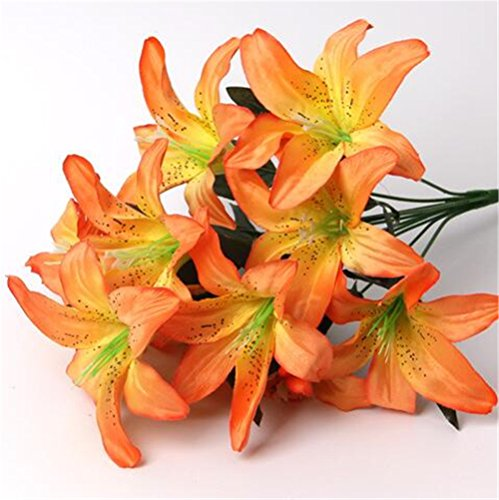 ISADENSER 3-Pack 30 Heads Artificial Lillies Flowers for Wedding Bouquets Home Decor Party Graves Arrangement, Orange Lillies