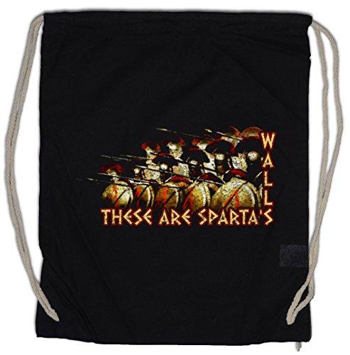 THESE ARE SPARTA'S WALLS Drawstring Bag Gym Sack Phalanx Hoplit Hopliten Hoplite Hoplites Sparta Spartans Spartaner Spartiaten Schild Speer Helm Shield Spear Helmet Leonidas 300