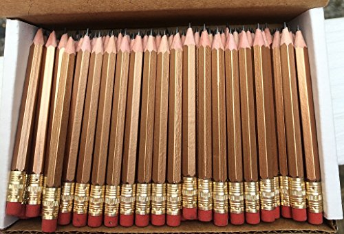Half Pencils with Eraser - Golf, Classroom, Pew - Hexagon, Sharpened, #2 Pencil, Color - Gold , Box of 72 ()