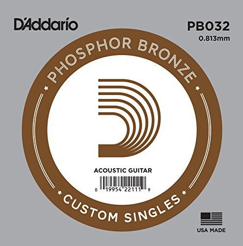 D'Addario PB030 Phosphor Bronze Wound Acoustic Guitar Single String.032 - Daddario Single Guitar Strings
