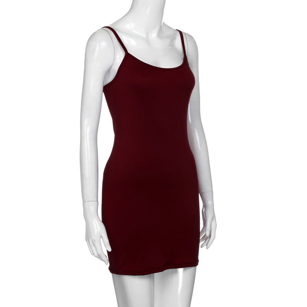 iLUGU O-Neck Sleeveless Mini Dress for Women Bodycon Package Hip Backless Pencil Dress Navy Dress