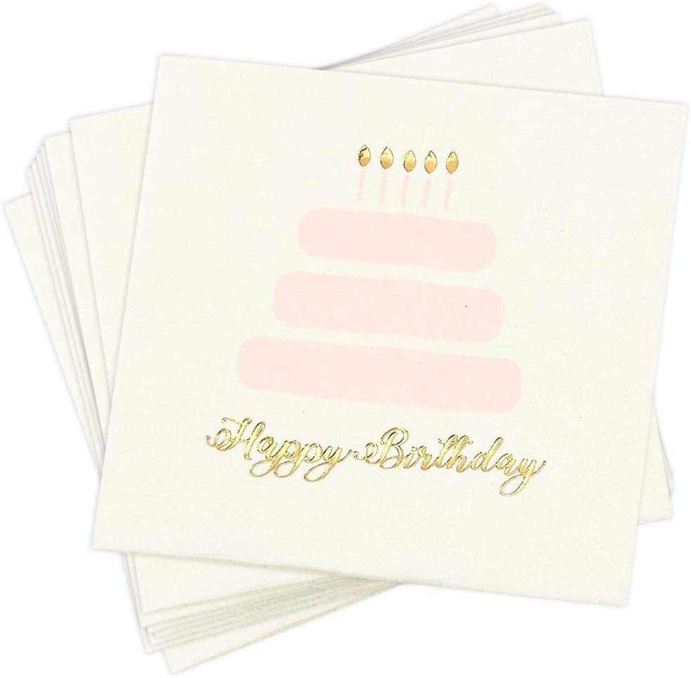 Happy Birthday Party Decorations, Cake Napkins (5 x 5 In, Gold Foil, 50 Pack)