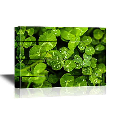 Clover Leaves on a Rustic Wood Style Background