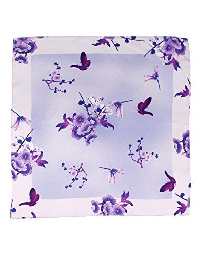 (Dahlia Women's 100% Square Silk Scarf - Plum Blossom Neckerchief - Purple)