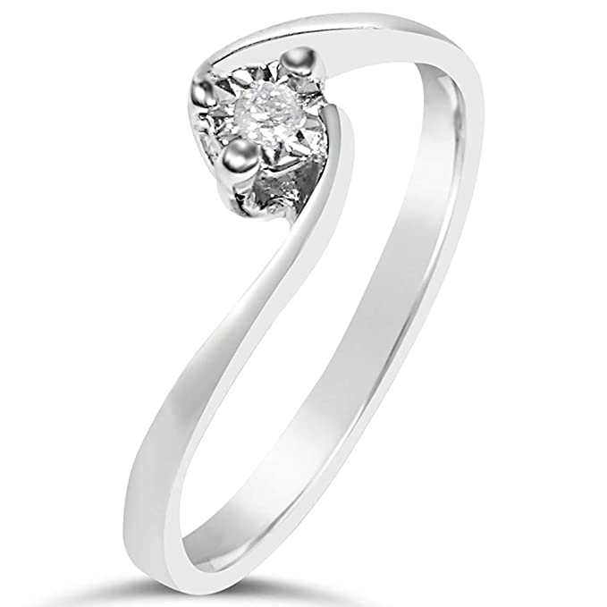 MILLE AMORI ? Anillo Mujer Compromiso Oro y Diamantes - Oro Blanco 9 Kt 375 ? Diamantes 0.02 Kt