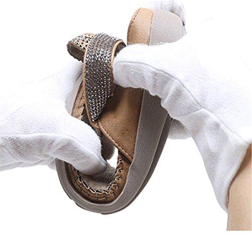 Toe Bohème d'été Décontractés en Sandales Strass de Femme Romaine Tong Perlés Peep Plage Compensés Kaki Talon Mode Style Plates Fanessy Casuel pour BZq4wRn