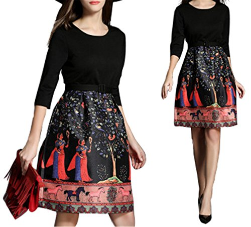 Aimeila Fashion halloween costumes for women New Runway Dress Women's Retro Printed Vintage Dress picture color (Halloween Costumes Knoxville Tn)