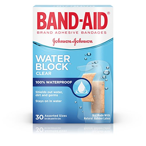Band-Aid Adhesive Bandages, Clear, Assorted Sizes, 30 ea