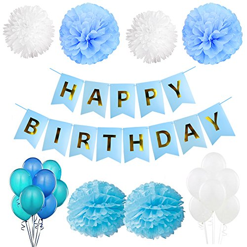 SIMPZIA 57 pcs Birthday Party Decorations Supplies Happy Birthday Banner & Tissue Paper Pom Poms Flowers-Blue & White Balloon for Baby Shower/1st Birthday/Birthday Party (Happy Birhtday)