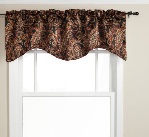 Stylemaster Bali 56 Inch By 17 Inch Lined Scalloped Valance With Cording,  Espresso