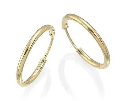 Schmuck-Pur 585/- Gold Ohrringe Draht-Creolen 11 mm / 1 mm: Amazon ...