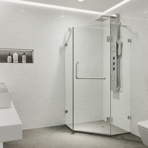 VIGO Piedmont 36 x 36-in. Frameless Neo-Angle Shower Enclosure with .375-in. Clear Glass and Chrome Hardware