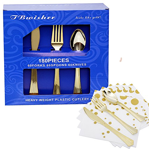 TBwisher Gold Plastic Disposable Flatware Silverware Set Disposable Tableware Cutlery - 60 Paper Napkin 60 Forks 60 Spoons and 60 Knives Combo 240 Party Supplies (Gold)