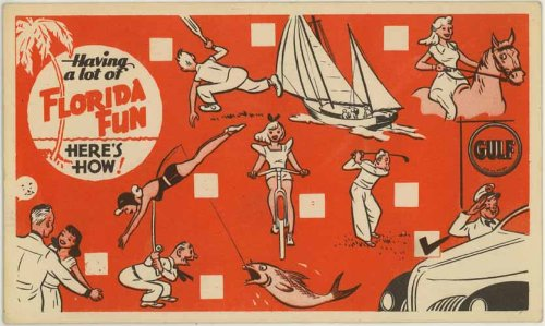 "Gulf Oil ""Having A Lot Of Florida Fun"" Vintage Color Advertising Roadside Postcard #SP-1368"