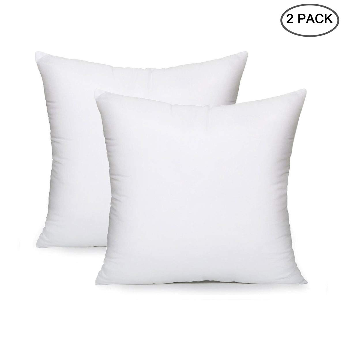 "EVERMARKET Square Sham Stuffer Hypo-Allergenic Poly Pillow Form Insert Pure White, 18"" L x 18"" W (2 Pack)"