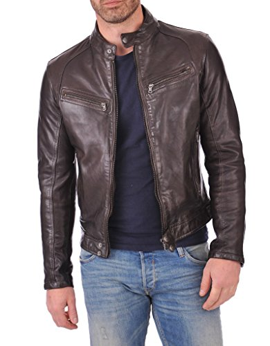 Leather Market Men's 100% Lambskin Leather Bomber Biker Jacket Outfit Small ()