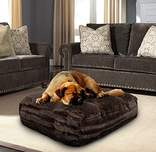BESSIE AND BARNIE Grizzly Bear/Godiva Brown Ultra Plush Faux Fur Luxury Shag Durable Sicilian Rectangle Pet/Dog Bed