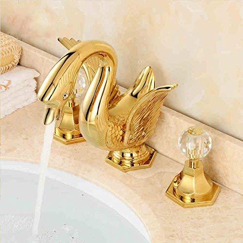 Swan shaped bathroom basin 3 hole crystal ball tap