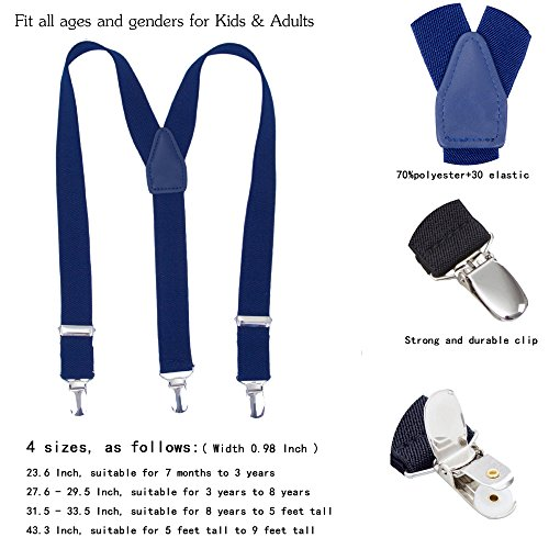 Children Boys Girls Adjustable Suspenders Y Shape Suspender with 3 Size for School Uniforms and Tuxedos