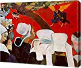 """This 18"""" x 23"""" premium gallery wrapped canvas print of Vision After the Sermon, Jacob Wrestling with the Angel by Paul Gauguin is meticulously created on artist grade canvas utilizing ultra-precision print technology and fade-resistant archival inks...."""