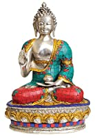 Lord Buddha in Vitarka Mudra - Brass Statue with Inlay
