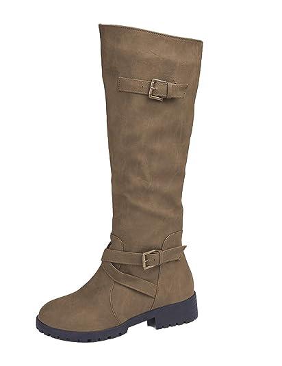 Botas Cuero Calzado Amazon Hebilla Martin Mujer Plano Zapatos UU4fq8 b1110ab3023d7