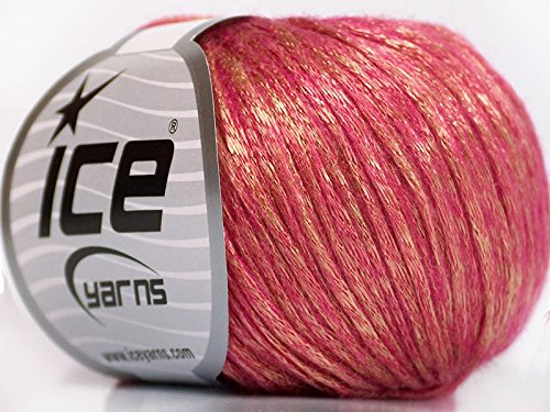 Rock Star, Gold, Pink, Metallic Shine, Soft Nylon Merino Wool Acrylic Blend Yarn, 50 Gram - Worsted Shine Yarn