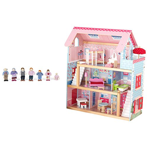 KidKraft Chelsea Wooden Dollhouse Play Cottage with Furniture and Doll Family