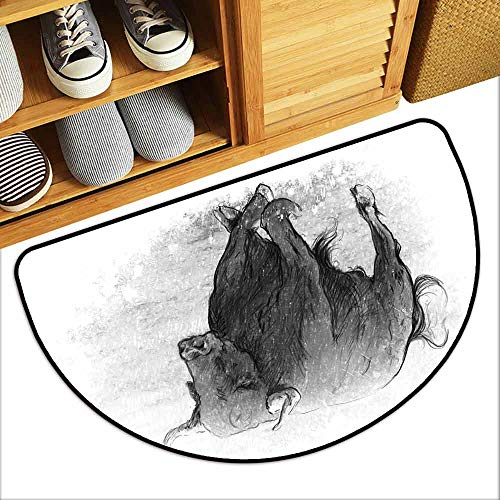 DILITECK Modern Door mat Taurus Sketch Tattoo Style Classic Hand Drawn Bull Figure Animal with Horns Artful Picture Super Absorbent mud W31 xL20 Grey Dust