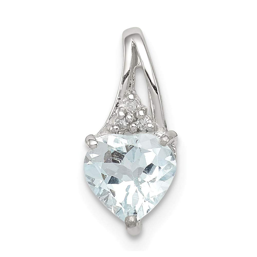 Aquamarine Heart Pendant Sterling Silver Jewelry Pendants /& Charms Solid 6 mm 13 mm Dia