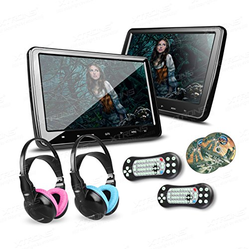 XTRONS 2X 10.1 Inch Twins HD Digital Screen Car Headrest DVD Player Ultra-Thin Detachable Touch Button HDMI Port with One Pair of Children IR Headphones(Blue&Pink)