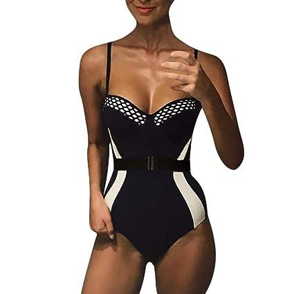13b4c4f1fdf Amazon.com  Gallity Swimsuits for Women One Piece Sexy Patchwork One-Piece  Bikini Tummy Control Swimwear Beachwear with Belt (US Size XS   Tag S