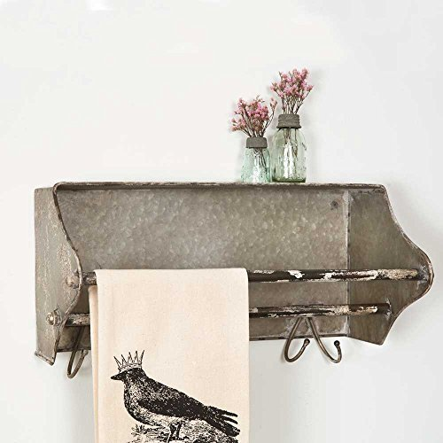 Colonial Tin Works Weathered Galvanized Metal Toolbox Wall Rack Towel Bar w/Hooks, grey by Colonial Tin Works