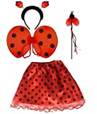 Ladies ANIMAL FANCY DRESS TUTU with EARS BOW TAIL SET for Halloween, Hen Party Fancy Outfit Tutu Skirt by Lizzy® (Ladybird Tutu Costume)