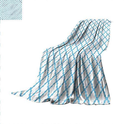 (Quatrefoil Digital Printing Blanket Blue Ikat Trellis Summer Quilt Comforter 90