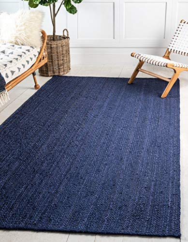 Unique Loom Braided Jute Collection Hand Woven Natural Fibers Navy Blue Area Rug (2' 0 x 3' 0)