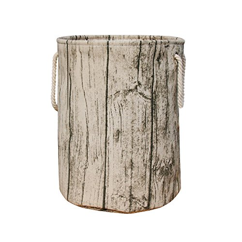 Jacone Stylish Tree Stump Shape Design Storage Basket Cotton Fabric Washable Cylindric Laundry Hamper with Rope Handles, Decorative and Convenient for Kids -