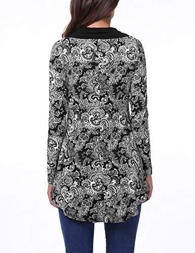 Noir T BaiShengGT Longues Blouse Bnitier Bouton Col Femmes fleur Flared Manches Shirt Hem PxqwSFUZ5q