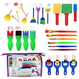 Gift Prod 26 Pcs Round Stencil Sponge Wooden Handle Foam Brush Furniture Art Crafts Painting Tool Supplies Painting Stippler Set DIY Painting Tools for Kids (Style 3)