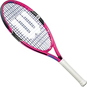 """Wilson Burn Pink 21"""" Pre-Strung Junior Tennis Racquet Set or Kit Bundled with a Pink Junior Collection Tennis Racket Backpack (Perfect for Kids Ages 5-7)"""