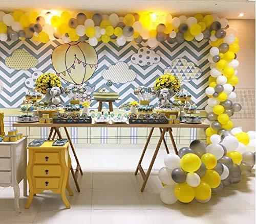 PartyWoo Gray Yellow White Balloons, 60 pcs 12 Inch Pack of Yellow Balloons, Gray Balloons, White Balloons, Yellow Grey Balloons for Yellow Party Decorations, Yellow Gray Baby Shower Decorations